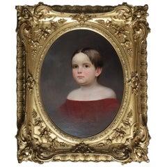 """Antique Oil on Canvas Portrait Painting """"Portrait of Great Aunt"""", 19th Century"""