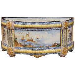 19th Century French Hand-Painted Demilune Jardinière with Sailboats and Flowers