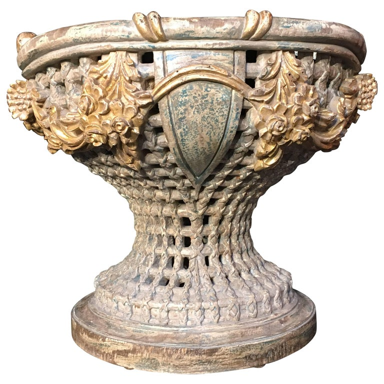 Italian Carved, Polychrome, Gilt Basket Form Centerpiece Jardiniere, circa 1900 For Sale