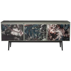 """Voltaire"" Lacquered Top & Three Fabric Covered Doors Cabinet, Moroso for Diesel"