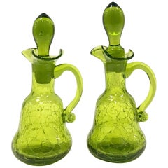 "Mid-Century Modern Pair of Blenko Glass ""Crackle"" Cruet Oil and Vinegar Decanter"
