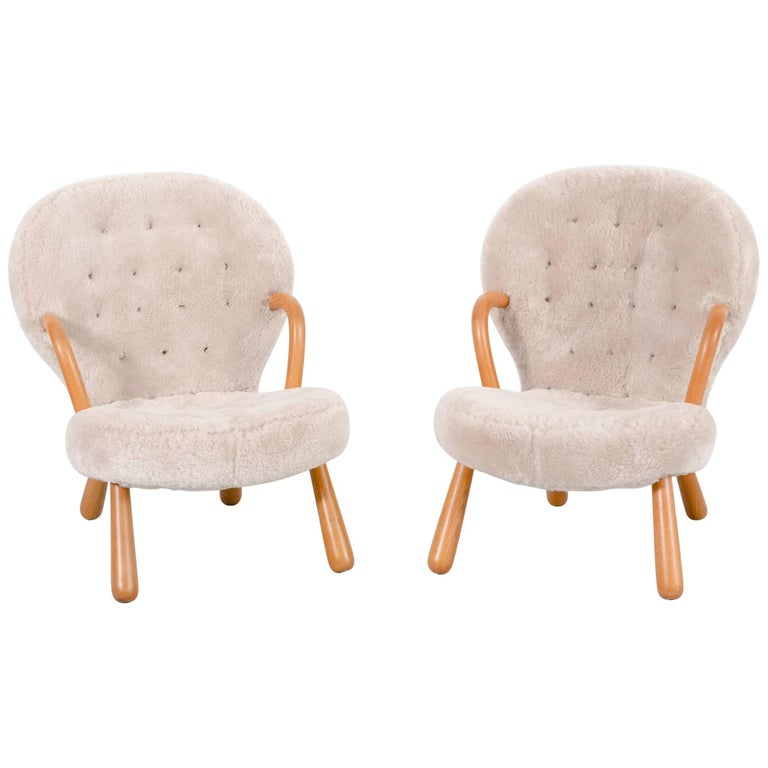 Set of clam chairs by phillip arctander freshly for Reupholstered chairs for sale