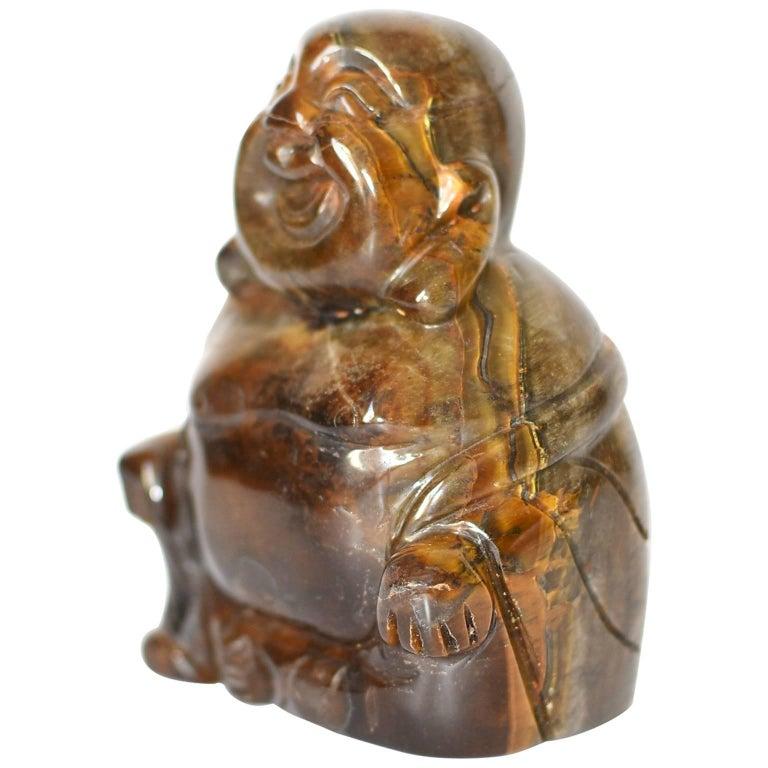 Natural Tiger's Eye Happy Buddha Statue, 1.4 lb