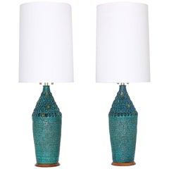 Mid Century Modern Quartite Creative Corp. Brutalist Style Lamps in Turquoise