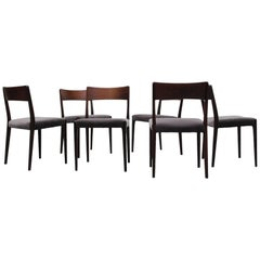 Set of Six Danish Rosewood Dining Chairs with Velvet Upholstered Seats