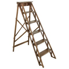 French Ash Wooden Library Ladder, circa 1900
