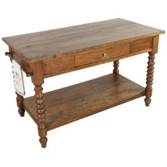 19th Century French Walnut Draper's Table or Kitchen Island with Drawer