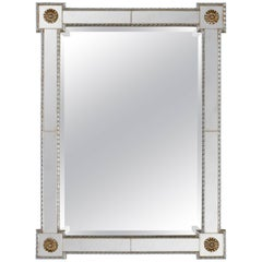 Rectangular Mirror with Mirrored Border and Outset Corners