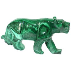 Natural Malachite Panther Sculpture