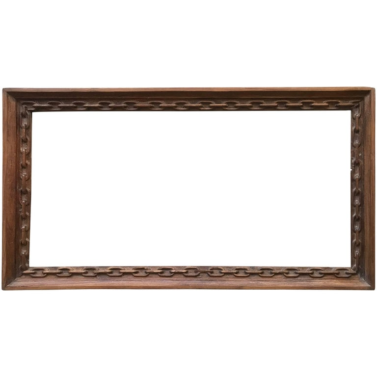 Rare Arts and Crafts Carved Chain Motif Picture or Mirror Frame of Teak Wood For Sale