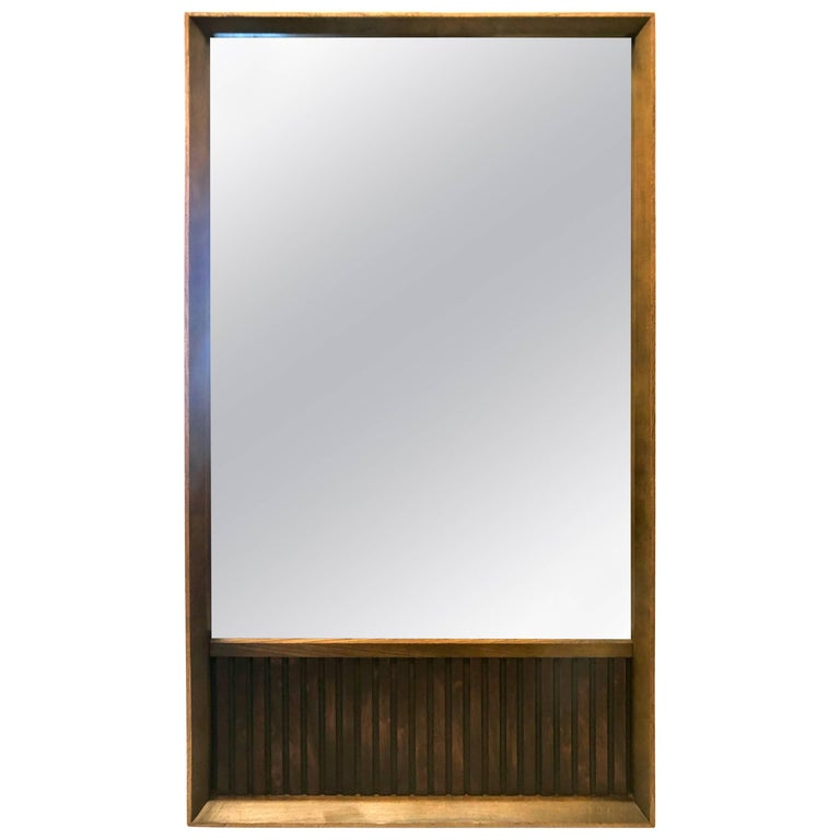 American Mid-Century Modern Walnut and Rosewood Mirror from Klassik For Sale