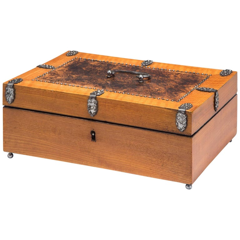 Austrian Burl Wood and Cherry Box Adorned with Facetted Steel