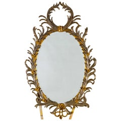 Georgian Style Oval Silver and Gold Metal Leaf Frame with Bevel