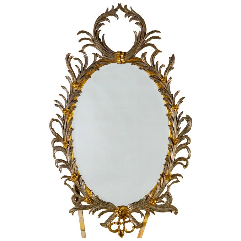 Georgian Style Oval Silver and Gold Metal Leaf Frame with Bevel For Sale