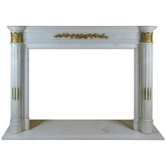 19th Century French Mantelpiece Carved in Marble with Bronze Ormolu
