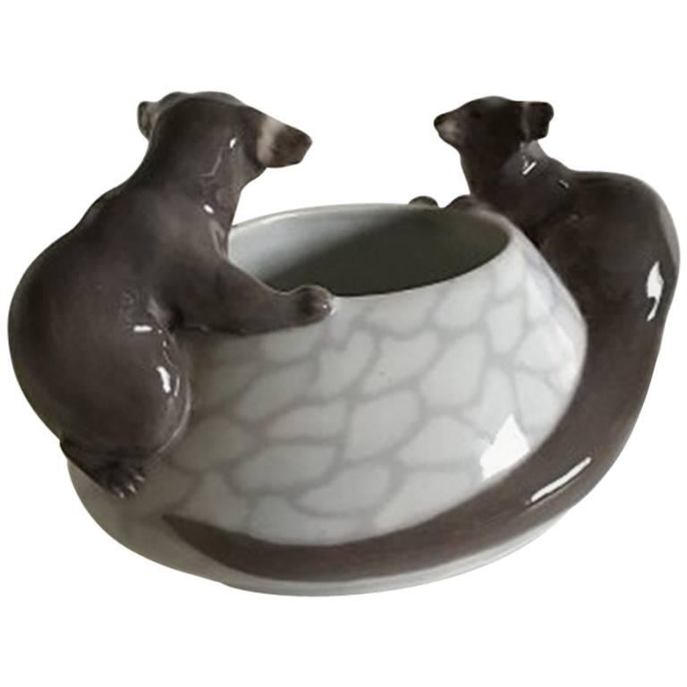Royal Copenhagen Art Nouveau Bowl with Two Otters #601
