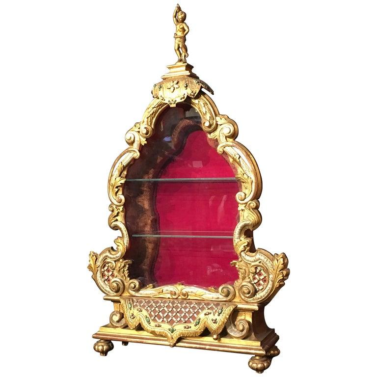 Late 19th Century Italian Baroque Revival Gilt and Polychrome Table Top Vitrine For Sale