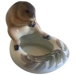 Royal Copenhagen Art Nouveau Bowl with Beaver #1067/615