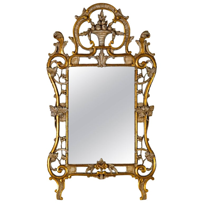 Basket Top Mirror in Antique White with Gold Metal Leaf Trim For Sale