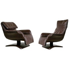 Scandinavian Modern Leather Club Chairs with Adjustable Headrests, Pair