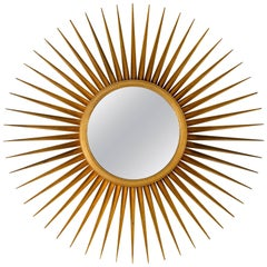 Sunburst Mirror in Antique Gold Metal Leaf