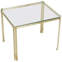 Midcentury French Bronze and Glass Side Table by Jacques Quinet for Broncz