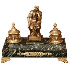 19th Century French Bronze and Green Marble Inkwell with Roman Figure and Mounts