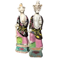 Near Pair of 18th Century Chinese Export Famille Rose Figures of Immortals