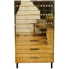 Chest of Seven Drawers in Gold Brass