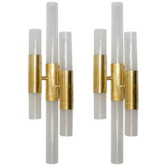 Pair of Sconces in Murano Glass and Brass