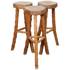 Set of Three Stools Bar in Style of Atelier Marolles