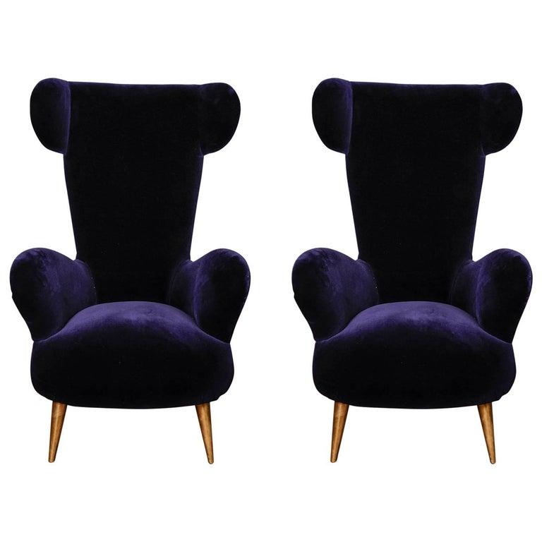 Pair of Vintage Wing Armchairs