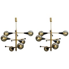 Pair of Six-Globes Chandeliers