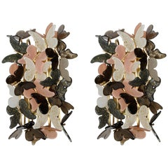 Pair of Sconces with Butterflies in Murano Glass