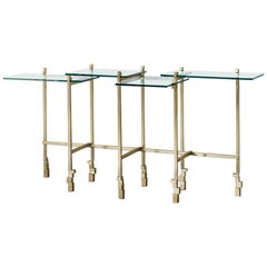 Console Table in Brass and Glass