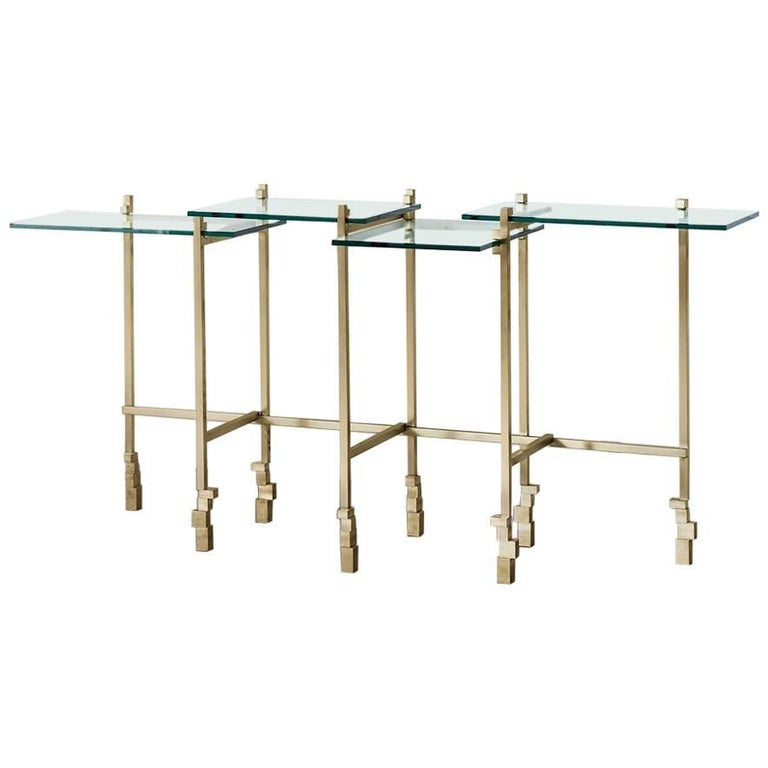 Console Table in Brass and Glass For Sale