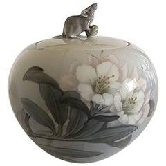 Royal Copenhagen Art Nouveau Bowl No. 846/703 with Mouse on Lid No. 846/703