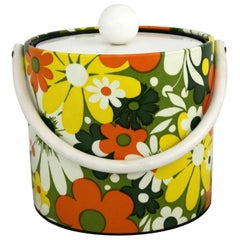 Mid-Century Modern Daisy Ice Bucket by Jack Frost Orange Green Yellow White