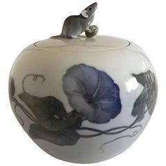 Royal Copenhagen Art Nouveau Vase with Lid of a Mouse with Nut #790/703