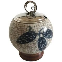 Bing & Grondahl Crackle Bowl or Jar #374-K with Silver Lid
