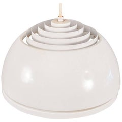 Louvered Lightolier White Dome Pendant Light