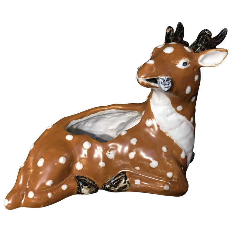 Chinese Qing Dynasty Porcelain Spotted Deer Brush Washer, Mid-19th Century For Sale