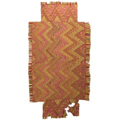 Pre-Columbian Chimu Textile, Meander Design and Fringe, Peru circa 900 to 1300AD
