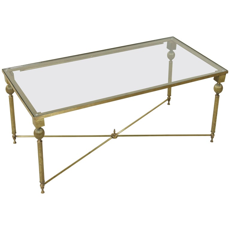 Midcentury French Maison Jansen Bronze Coffee Table or Cocktail Table Glass Top