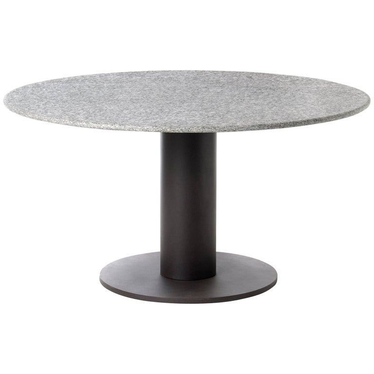 Roda Platter Round Dining Table for Outdoors in Stone or HPL with Steel Base