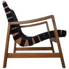 Early 1950s Strap Lounge Chair by Jens Risom for Knoll
