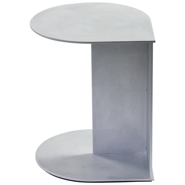 Tier Table in Waxed and Polished Aluminium Plate by Jonathan Nesci For Sale