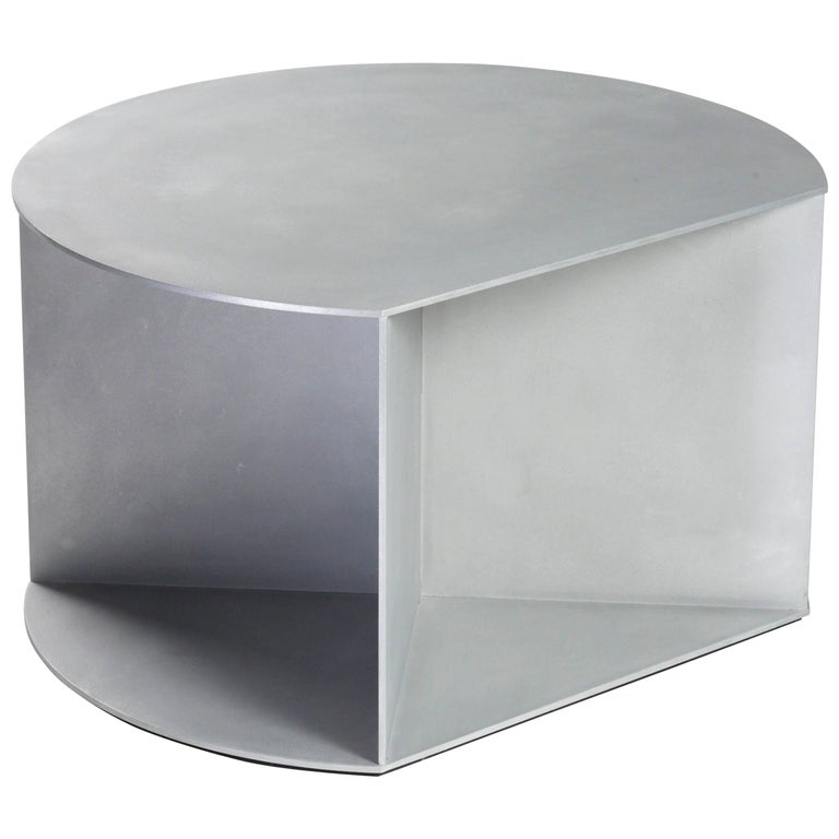 Big D Coffee Table in Waxed and Polished Aluminium Plate by Jonathan Nesci For Sale