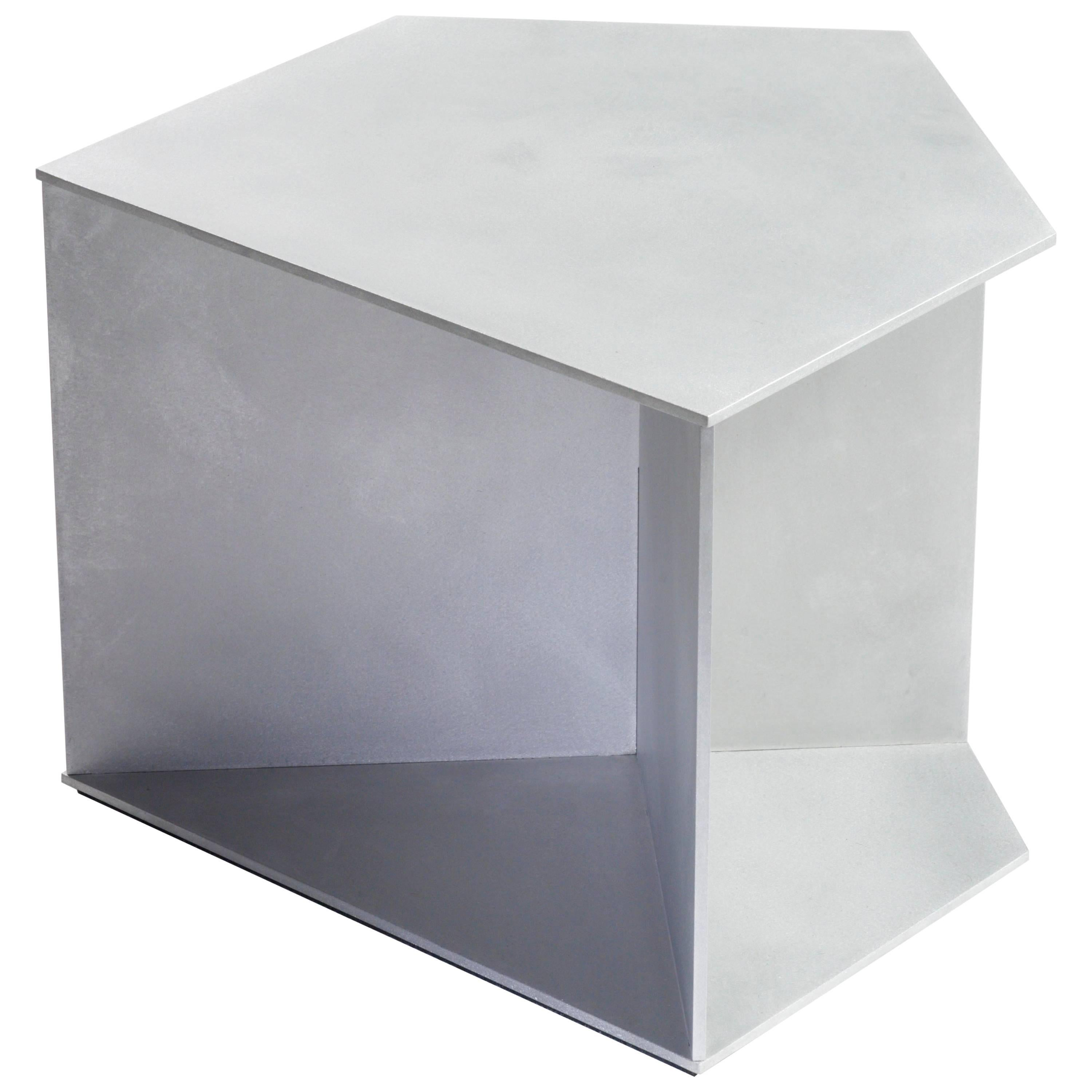 Home Plate Table in Waxed and Polished Aluminium Plate by Jonathan Nesci