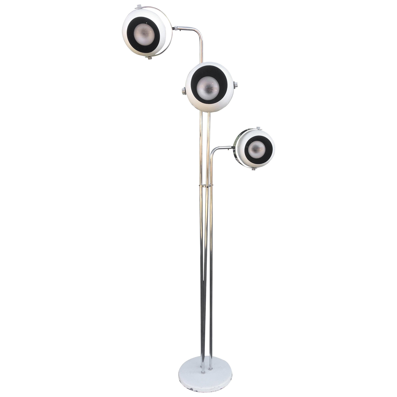 Rare Robert Sonneman Atomic Three Eye Floor Lamp
